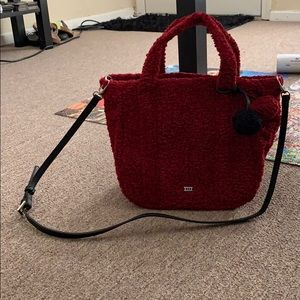 XIIX Furry Red Top Handle Bag